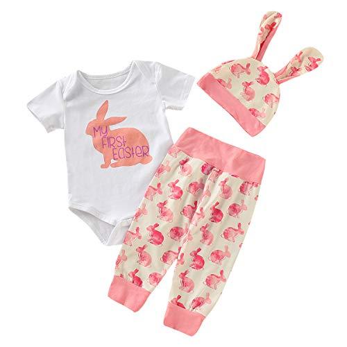 Lazzboy Baby Junge Mädchen Cartoon erste Ostern 3D Bunny Outfits Strampler Hut Hose Set (1 STÜCK Tops + 1 STÜCK Hosen + 1 STÜCK Hütte)(Rosa,Höhe70)