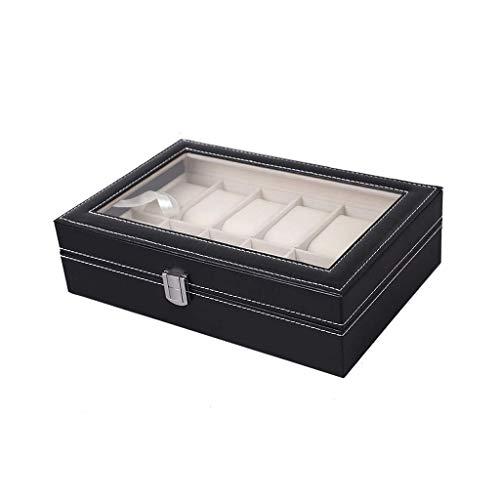 Betty & Co Geschenk Watch Box Glasdeckel 12 Uhren Schmuck-Anzeigen-Aufbewahrungsbehälter-Kasten