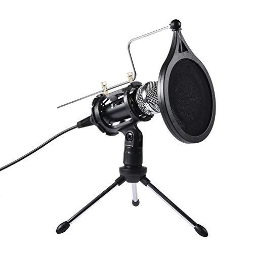 Eillybird Condensatormicrofoon, set computermicrofoon, met filterstatiefstandaard, perfect voor stemopnamespellen, spraakzoeken, podcasting