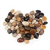 BLQH [18 Pounds] Aquarium Gravel River Rock, Natural Polished Decorative Gravel,Garden Outdoor Ornamental River Pebbles Rocks, Polished Pebbles, Mixed Color Stones for Vase Fillers Landscaping (18.4)
