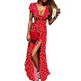 niumanery Ladies Sexy Wrap Deep V-Neck Short Sleeve Vintage Polka Dot Maxi Long Dress Belted High Split Front Evening Party Beach Sundress Red XL