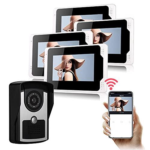 OUYA Kit De Timbre De Video HD 1080P, Sistema De Intercomunicación De Teléfono De Puerta, Conexión Remota WiFi Compatible, Desbloqueo Local/Remoto,701fc14