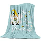 Heart Pain Soft Flannel Fleece Blanket Gnome Bee Sunflower Dasiy Breathable Throw Blanket Teal Cozy Blanket for Couch Sofa Bed Living Room Suitable for All Season - 40x50 inch (100x125cm)