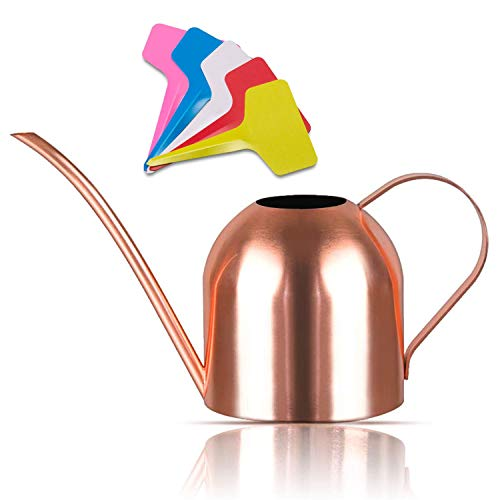 Liyahog 33oz Small Watering Can Indoor Outdoor Stainless Steel Watering Pot with Long Spout for House Plants - Copper