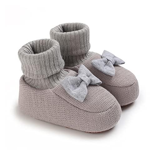 FURONGWANG6777BB Recién Nacido Unisex Bebé Calcetines de Invierno Botines acogedores Zapatos de Cuna for niños Suela Suave Antideslizante con Nudo (Color : H, Size : 12-18 Months)