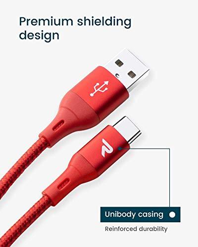RAMPOW USB C Ladekabel, USB C Kabel auf USB 2.0 - Schnelles Aufladen - Aluminum USB Typ C Kabel Kompatibel mit Samsung Galaxy S20, HTC 10, Google ChromeBook, GoPro und Mehr - 3m Rot