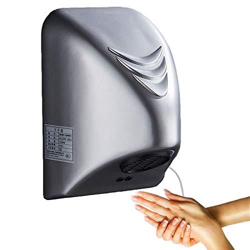 Händetrockner, automatisch, Wandmontage, Badezimmer, gewerblich, Induktion, automatisch, elektrisch, Handtrockner, Gehäuse aus feuerfestem ABS-Kunststoff, für Einkaufszentren, Hotels, Haus/Silber/