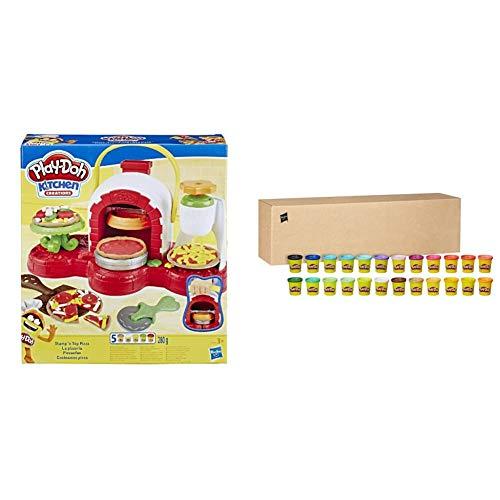 Hasbro Play-Doh La Pizzeria con Pack con 24 Vasetti, Playset a Tema Pizzeria con 5 Vasetti e 24 Vasetti di Pasta da Modellare