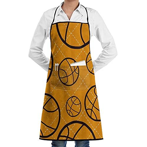 FAKAINU Delantales de cocina para mujer y hombre, delantal impermeable, deporte de baloncesto, delantal con 1 bolsillo para cocina casera, cocina de restaurante, cafetería, barbacoa en el jardín