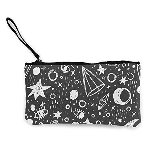 Ocult Mystic Wicca WitchcraftCanvas - Monedero para monedas con cremallera, bolso pequeño para teléfono móvil con asa