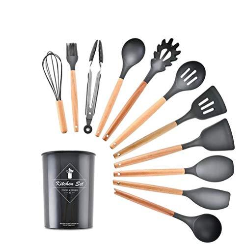 12PCS Silicone Kitchenware Set Kitchen Gadgets Baking Tool Spatula Kitchen Utensils Accessoires De Cuisine with Storage Bucket,Black