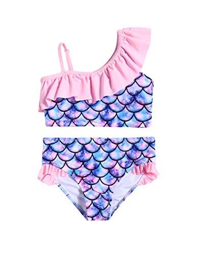 Arshiner - Costume da bagno da ragazza, set da 2 pezzi, con tracolla regolabile, costume da bagno Hawaiian Beach Sirena 150 cm