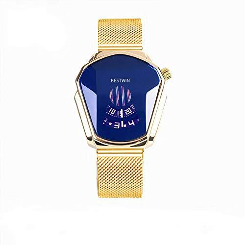 SHIKAN Reloj automático de Cuarzo de los Hombres, Negro tecnología Impermeable Reloj de Negocios de Acero Inoxidable señoras Reloj de la Correa de la Moda GoldMeshbelt