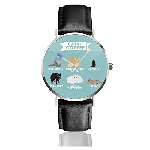 Cats As CoffeeLederarmband Armbanduhr Casual Classic Edelstahl Quarz Business Armbanduhr