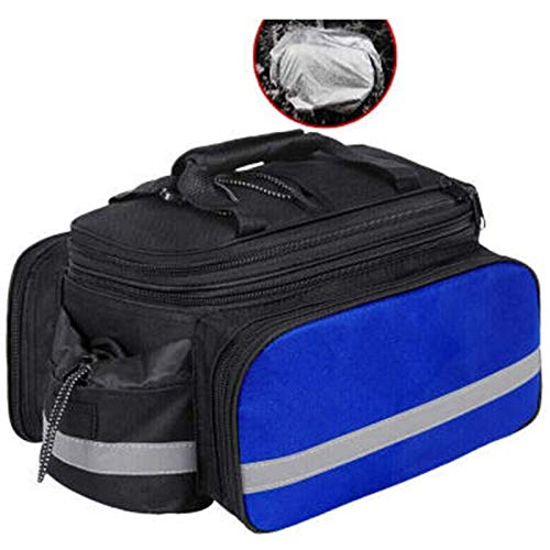 ANXIANG Bicycle Carrier Bag, Bicycle Rear seat Bag Multi-Function Expandable Waterproof Mountain Bike PAN Bag, Bicycle Bag with rain Cover (Color : Blue)