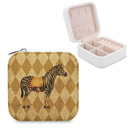 Caja de joyería para mujeres y niñas, diseño de cebra circo vintage en diamantes de oro rústico, pequeño viaje de piel sintética caja de almacenamiento organizador para collares, pendientes, pulseras