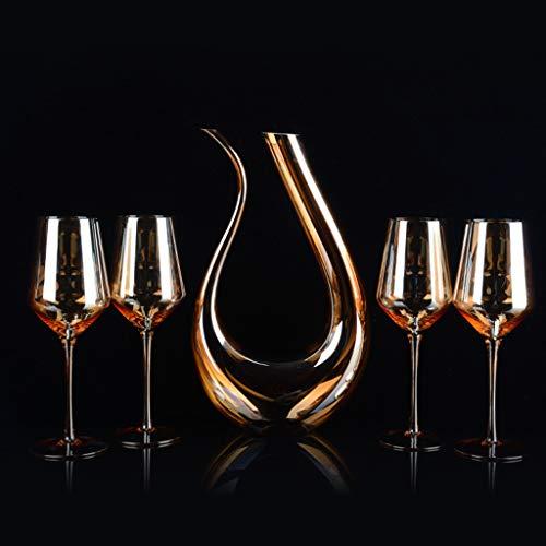 Gnaixyc Decantador De Aireador De Vino 1.5L, Juego De Copa De Vino De Oro con 4 Copas De Vino, 100% Libre De Plomo Cristal Vino Oxigenación Conjunto