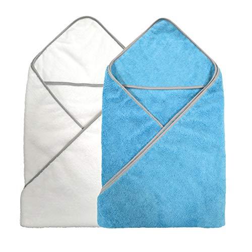 Polyte - Toalla de baño de Microfibra hipoalergénica para bebés - con Capucha - Premium - Azul, Blanco - 91,4 x 91,4cm - Pack de 2