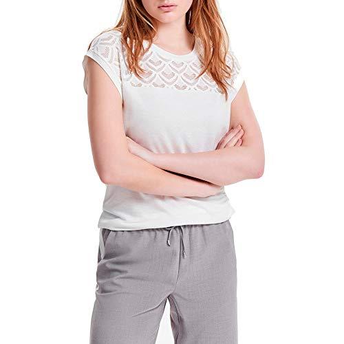 ONLY Damen T-Shirt onlNICOLE S/S MIX TOP NOOS Weiß (Cloud Dancer), 38 (Herstellergröße: M)
