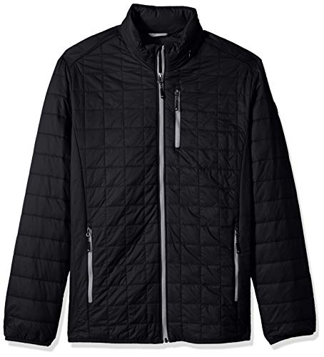 Cutter & Buck Men's Weather Resistant Primaloft Down Alternative Rainier Jacket, Black, 3X Tall