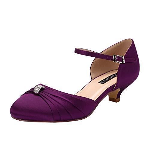 ERIJUNOR E0713B Women Comfort Low Kitten Heel Buckle Ankle Strap Satin Evening Prom Bridal Wedding Shoes Purple Size 8