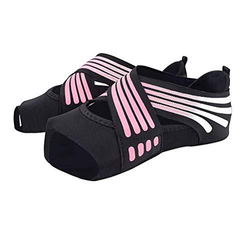 ABOOFAN 1 par de calcetines de yoga no suaves, diseño de cinco dedos para adultos (tamaño 37/38 yardas rosa)