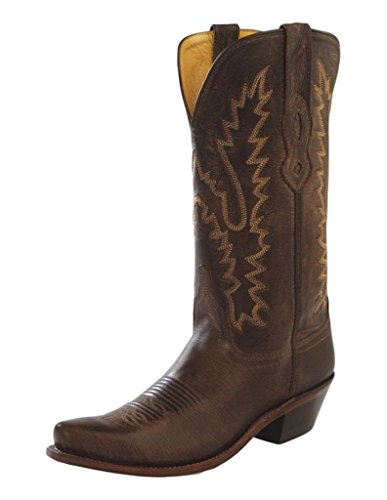 Old West Women's Distressed Leather Cowgirl Boot Snip Toe Dark Brown 5.5 M US