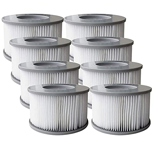 MIBNCE Filterkartuschen für MSpa Whirlpool, Ersatz Filter Filterkartusche für MSpa aufblasbare Pools, Filterkartusche Zubehör für Mspa Whirlpools (8 STK)