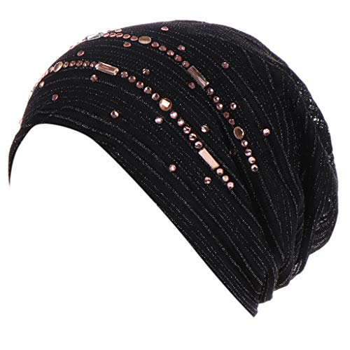 Lazzboy Turban Damen Kappe Muslim Beanie Mütze Stretch Damenturban Chemo-kopfbedeckung Scarf Cap Mit Strass Frauen Hut Chemo Haarausfall Kopftuch Wrap Hijab(C)