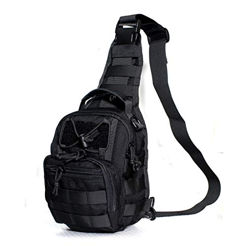 Chest Bag for Men Tactical Waterproof Cross Body, Single Shoulder, Portable, a Variety of Use Methods, Free Switching (Black)