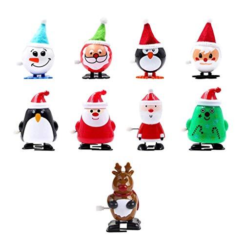 Toyvian 9 Stücke Aufziehspielzeug Weihnachtsmann Figur Aufziehfigur Weihnachten Deko Figuren Pinguin Rentier Schneemann Dekofigur Aufziehtiere Geschenk für Baby Kinder (Gemischt)