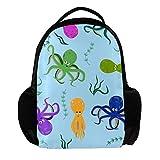 TIZORAX Mehrfarbiger Rucksack mit Oktopus und Meeresalgen Schulrucksack, College, Büchertasche, Reisetasche, Laptop-Tasche, Tagesrucksack, für Herren und Damen