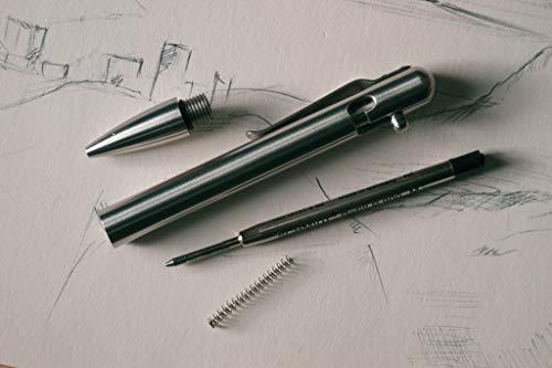 BASTION Luxury Executive Bolt-Action Ballpoint Pen for Men & Women | Ink Refillable Retractable Office Business Writing Pen | Glass Breaker Metal Self-Defense EDC (Stainless Steel)