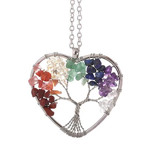 BlueSnow Collar de Cristal de Siete Colores del árbol de la Vida