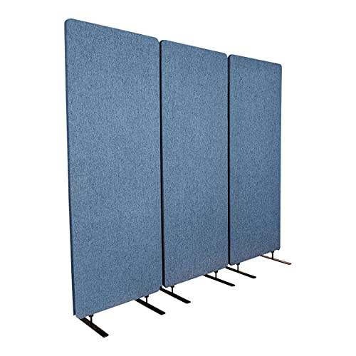"""Stand Up Desk Store ReFocus Freestanding Noise Reducing Acoustic Room Wall Divider Office Partition (Steel Blue, 72"""" W x 66"""" H, Zippered 3-Pack)"""