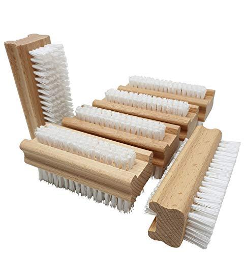 Pilix Holz Nagelbürste Harte Borsten aus Kunststoff | 6 Stück | hart gegen Schmutz, Öl und Fett | griffiger unbehandelter Holzkörper | Fingerbürste Nagelbürste hart | Handbürste hart