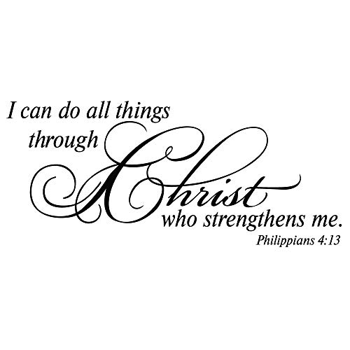 I can do All Thing Through Christ who Strengthens me. Philippians 4:13 Wall Decal Vinyl Christian Quotes Bible Scripture Inspirational Words Wall Stickers Religious Home Décor
