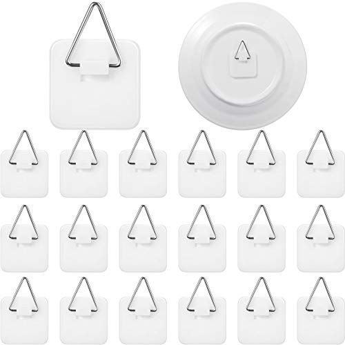 Sawysine 40 Pieces Invisible Adhesive Plate Hanger Vertical Plate Holders for Plate Pictures Wall Art Decor Supplies 125 Inch