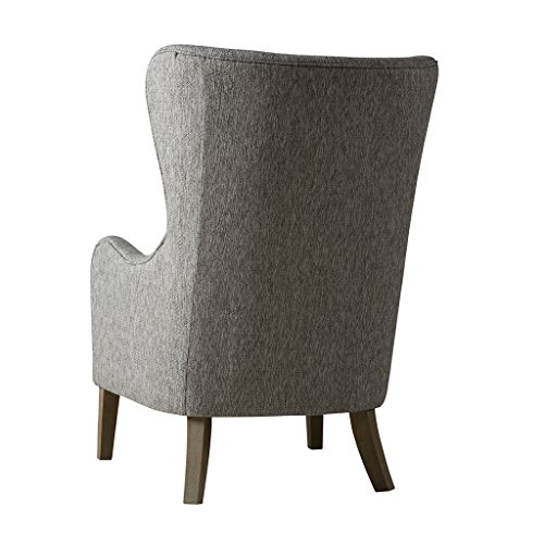 Madison Park Accent Hardwood, FPF18-0429 Arianna, Faux Linen, Style Living Room, Modern Contemporary Furniture, Arm, Swoop Wing, Bedroom Chair Seat, Deep, Grey