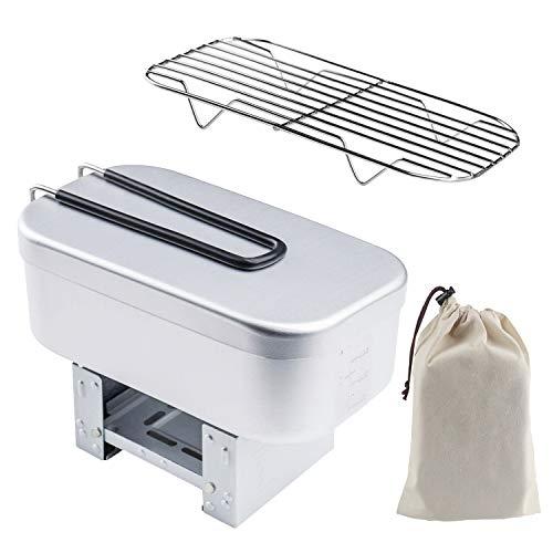 BETU メスティン バッドアミ付き アルミ製飯ごう キャンプ用品 折りたたみストーブ 固形燃料 アウトドア専用3点セット 軽量 コンパクト 炊く·蒸す·燻す 縁は二重研磨して 安全 食器 (MR-250)