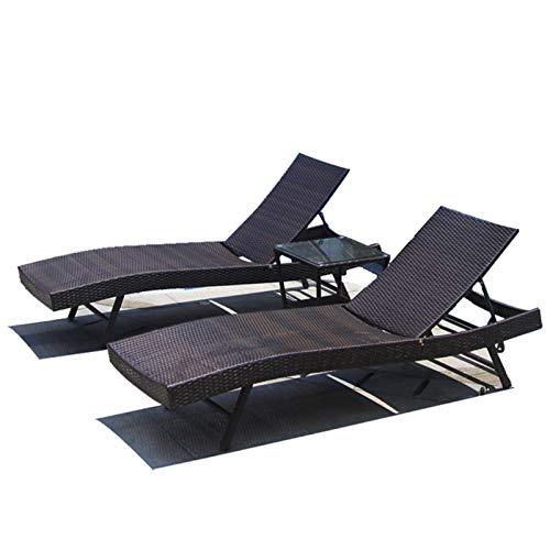 Juego de 3 tumbonas de ratán, 2 tumbonas+1 mesa de centro para jardín, patio al aire libre, piscina, con 4 funciones de respaldo ajustables, silla de una sola cubierta, 3 piezas