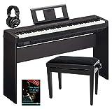 Yamaha P-45B Digitalpiano/Stagepiano SET inkl. Ständer, Bank, Kopfhörer, Schule (88 Tasten, 64 Stimmen, 10 Voices, 4 Reverb Effekte, 2 x 6 W Verstärker, 6 W, Auto Power Off, Stativ, Noten) schwarz