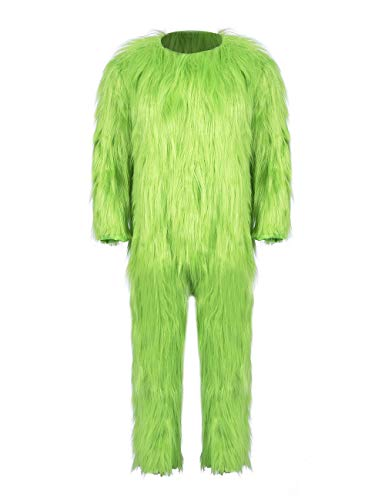 LILLIWEEN Green Furry Costume Jumpsuits Halloween Cosplay Costume One-Piece Pajama Xmas Gifts Unisex 3XL