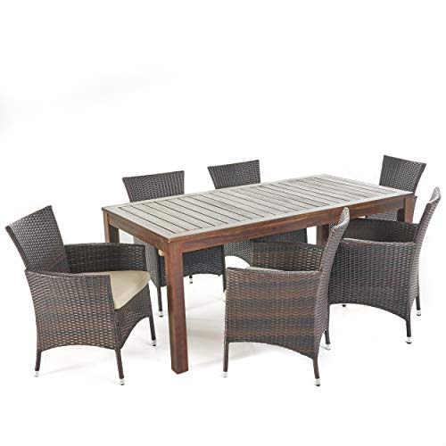 Christopher Knight Home Christine Outdoor Dining set with Wood Table and Wicker Dining Chairs with Water Resistant Cushions, 7-Pcs Set, Dark Brown / Multibrown / Beige