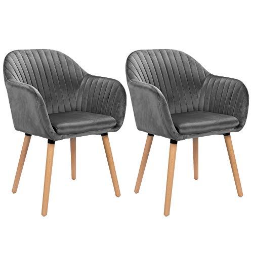 WOLTU Esszimmerstühle BH95dgr-2 2er Set Küchenstuhl Wohnzimmerstuhl Polsterstuhl Design Stuhl mit Armlehne, Sitzfläche aus Samt, Gestell aus Massivholz, Dunkelgrau