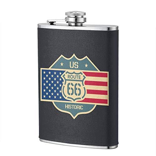 Route 66 con bandera americana Stainl acero 8oz petaca portátil bolsillo al aire libre Flagon con cuero PU