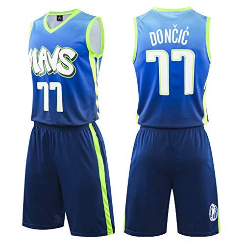 Conjunto De Camiseta Y Pantalones Cortos De Baloncesto De La NBA para Hombre, Dallas Mavericks # 77 Doncic Youth Gym Fitness Chándal Azul,5XL(185~195cm)