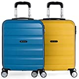 ITACA - Set 2 Maletas Pequeñas para Viaje en Pareja. Rígidas 4 Ruedas 55x40x20 cm Cabina Trolley ABS. Equipaje de Mano. Cómodas y Ligeras. Ryanair. Calidad y Diseño. T71650P, Color Azul/Mostaza