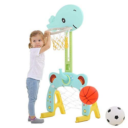 Juguete de Soporte de Baloncesto 3 en 1 Centro de Actividades Deportivas Ajustable Fácil puntuación Aro de Baloncesto, Anillo de Lanzamiento de portería de fútbol/fútbol Linda Jirafa