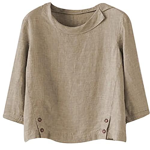 Masrin Leinen Oberteile für Damen Sommer Herbst dünner Pullover Vintage Hemd mit Umlegekragen, locker Plus Size Langarm-Tunika-Bluse mit O-Ausschnitt(L,Khaki)